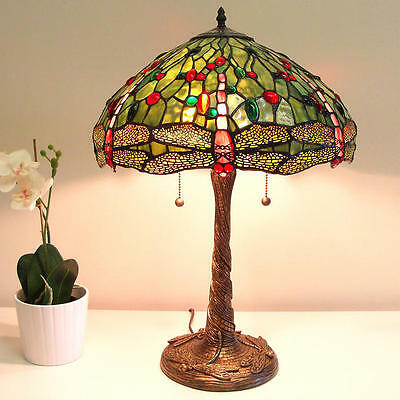 Reproduction Tiffany Style Green Dragonfly Lamp