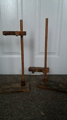 2 x Vintage Wooden Laboratory  Stands