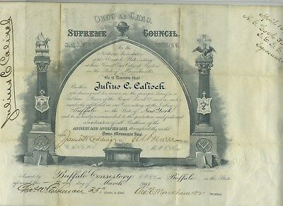 1903 Mason 32nd Degree Certificate with 19 signed 33rd Degree Members Buffalo NY