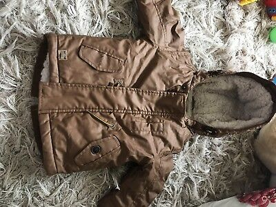 Brown Tan Leather Winter Cost Boys 9-12 Months Next