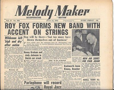 Vintage melody Maker music paper Vol 27 No 930 July 14th 1951