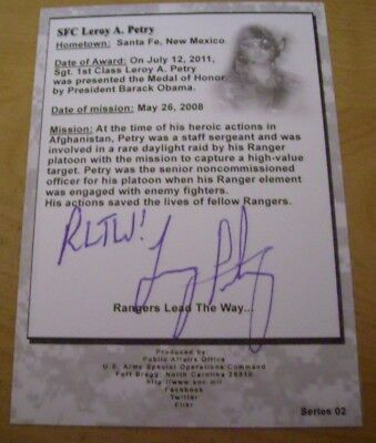 LEROY PETRY MEDAL OF HONOR Signed/AUTOGRAPHED  CARD