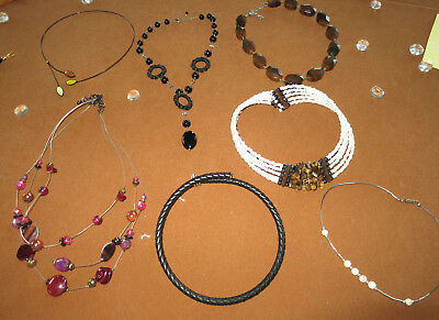 #1 Lot Of 7 Misc Necklaces Costume Jewelry~Vintage~Chokers~Beads