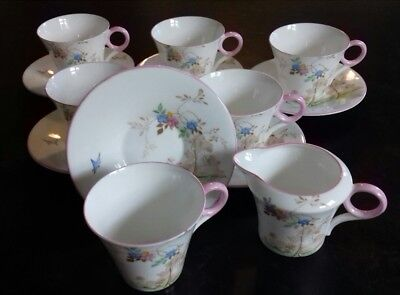 A Beautiful Shelly Regent Shape C.1933 6 x Cup & Saucer With Creamer Jug Set