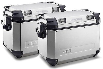 Givi TREKKER OUTBACK Aluminium Motorcycle PANNIERS 37 x 2 SIDE CASES OBK37APACK2