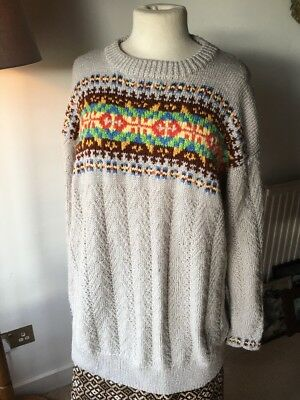 Fairisle Hand Knitted Vintage Jumper Oversized Slouchy XL Wool Mix Shetland WW2