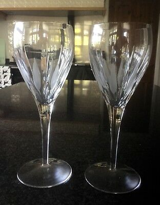 "2 X Royal Doulton Hand Cut  Crystal Reflections  8.5"" Wine Glasses"