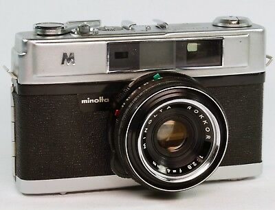 Vintage Minolta A-5 Rangefinder 35mm Camera, 45mmf2.8 Rokkor   Cased, Working.