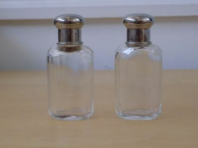 "Pair of OVAL Glass DRESSING TABLE BOTTLE 3 1/2"" high round CHROME top"