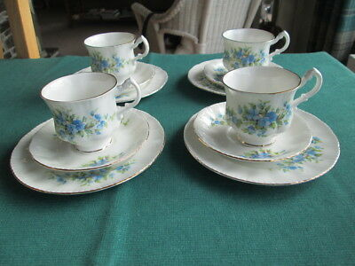 Set Of 4 Royal Standard R220 Floral Pattern  Coffee Cups And Saucers & Plates