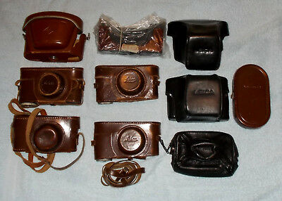 Leica Leitz  - Voigtlander - Agfa Lot Of 10 Leather Vintage Cases !!