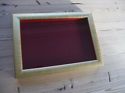 Collectors display case/frame, wall mounting for badges, buttons Gold, burgundy