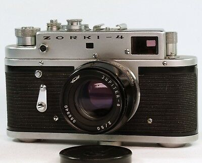 Vintage Zorki 4 Rangefinder 35mm Leica Copy, 50mm f2 Jupiter.  Cased, Spares/Rep