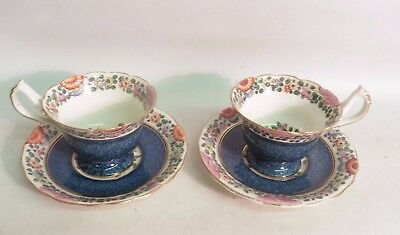 Pair Of Royal Worcester 'old Worcester Parrot' Coffee Cups & Saucers Circa.1924
