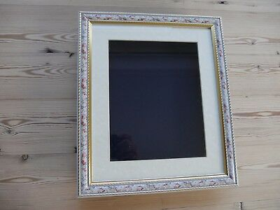 Collectors display case/frame, wall mounting for badges, buttons Floral/black