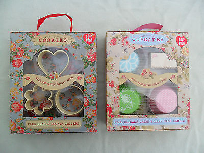 Vintage Style Make Your Own Recipe Book Set Cupcakes Cookies Cutters Baking Gift