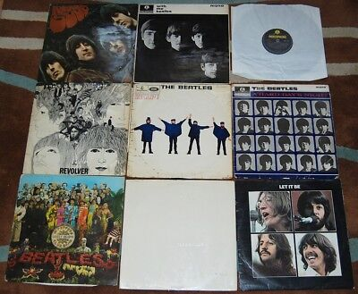 Lot of 9 Original BEATLES LPs inc. Please / White / Pepper / With / Revolver etc