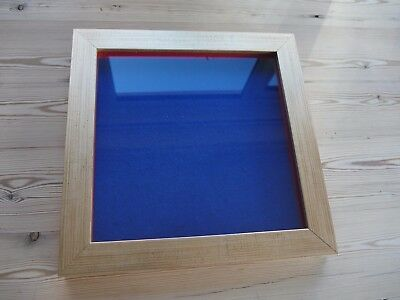 Collectors display case/frame, wall mounting for badges, buttons GOLD/Blue