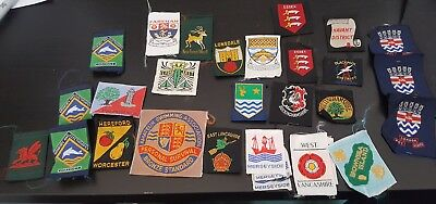 Joblot Vintage Scout County Badge Collection - 30 Patches
