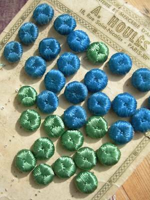 33 antique French Houles silk buttons