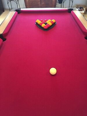 Pool Table, Riley, Slate, Red Carpet, Selection Of Snooker Cues, Balls,full Size