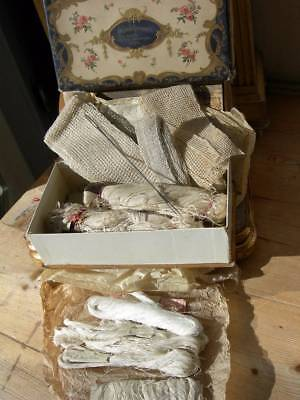 Charming box full of antique French skeins of fine linen thread skeins & lace