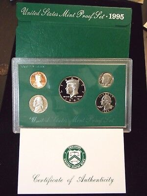 """1995 """"S"""" Proof Set United States US Mint Original Government Packaging Box & COA"""