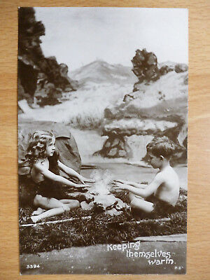 Young Children Warm Themselves At Camp Fire Nearly Naked Real Photo 1908
