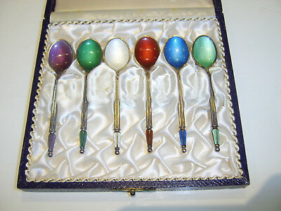 Antique Designer A.Michelsen Set Of Six Solid Silver Enamel Coffee Spoons DANISH