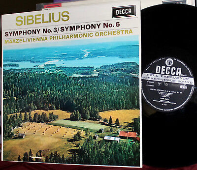 DECCA LP SXL-6364: SIBELIUS Symphony Nos. 3 & 6 - MAAZEL VPO - 1968 UK EARLY OOP