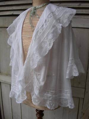 Beautiful antique French hand embroidered & lace deshabille shoulder cape