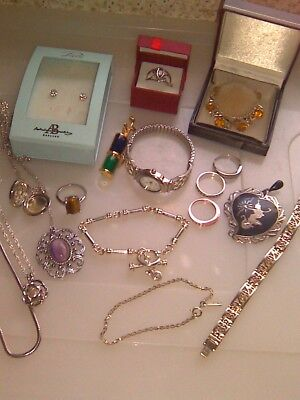 Job Lot Of Sterling Silver/Vintage & Costume Jewellery