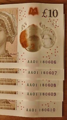 *5 x AA01* NEW POLYMER £10 NOTES CONSECUTIVE & RARE Serial Numbers Ten Pound
