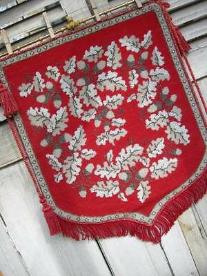 Large antique Victorian tapestry & glass beadwork beaded panel w. tassels