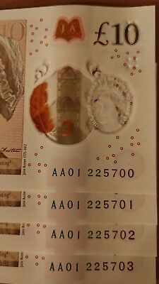 *4 x AA01* NEW POLYMER £10 NOTES CONSECUTIVE & RARE Serial Numbers Ten Pound