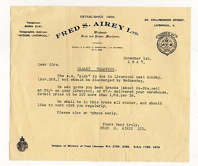 1947 letter from Fred S Airey Ltd, notification of tomato delivery from abroad