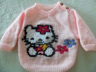 Pull Hello Kitty Tricote Main Taille  3 Mois