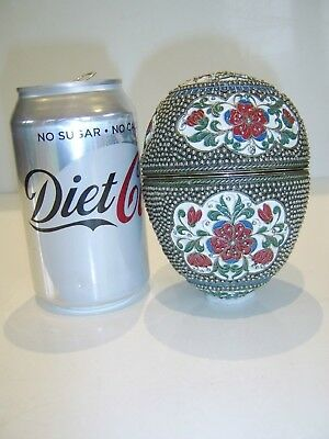 Very Large Antique Russian Silver Egg With Beautiful Enamel Decoration Very Rare