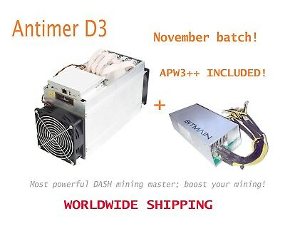 Antminer D3 (APW3++ included) 15-17GH/s X11 Dash / Batch: Nov - new/sealed