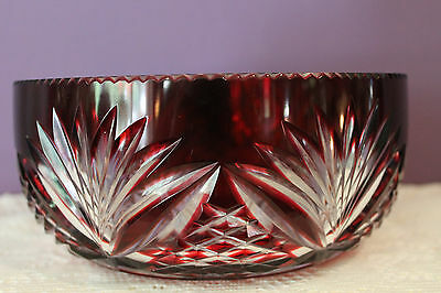 "Beautiful Bohemian Czech Ruby Red Cut To Clear 7-3/4"" Bowl"