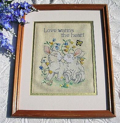 Vintage Framed Love Warms The Heart Cross Stitch Bunnies Blue Yellow Flowers