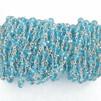 3ft SKY BLUE AB Crystal Rosary Bead Chain silver double wrap 4mm beads fch0771a