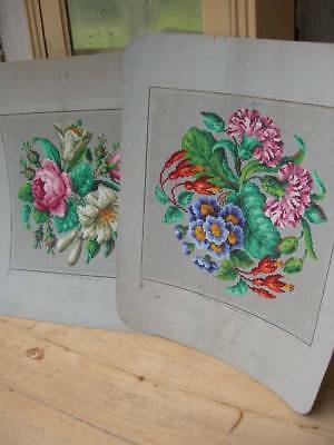 2 beautiful antique French 1870s coloured Berlin woolwork paper patterns Sajou