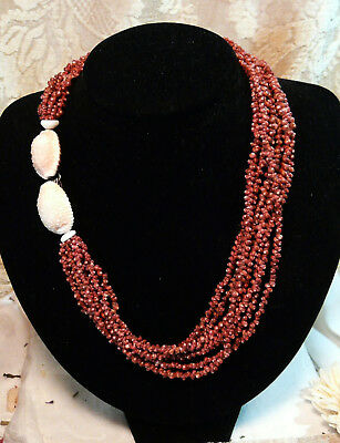"Authentic Niihau Hawaiian Shell Lei Necklace 19"" - 7 strand ala ala kahola lani"