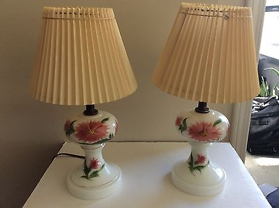~~MID-CENTURY 1950's TABLE LAMPS + LAMPSHADE | BEDSIDE TABLE DESK GLASS LAMPS~~
