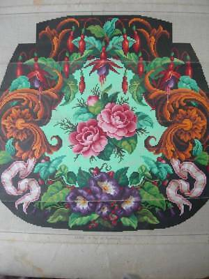 Antique French 1870s coloured Berlin woolwork paper pattern Sajou C