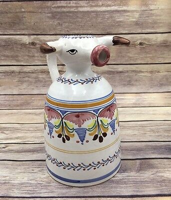 Vintage Spain Handpainted Bull Cow Pitcher Creamer Espana