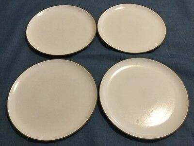 4 Vintage Heath Ceramics CA dinner plates OPAQUE WHITE w/ BROWN EDGE 10 3/4 in.