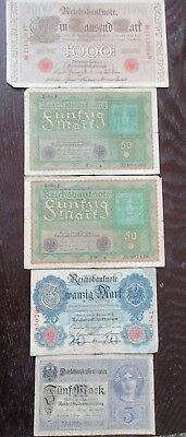 Vintage Lot of 5 OLD GERMAN BANKNOTES PAPER MONEY 1910, 2-1919, 1914 and 1917