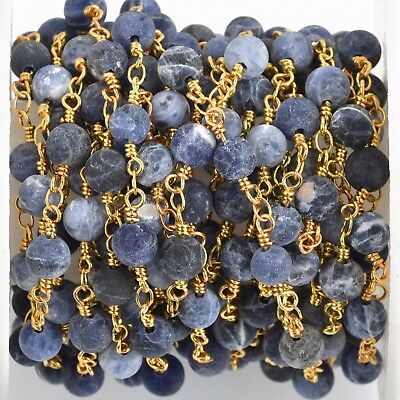 3ft Matte SODALITE GEMSTONE Rosary Chain, gold denim blue 6mm fch0773a